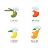 Set of  healthy food logo, emblem, label design. Olive, apple, lemon, pear in chef hat, isolated on white. Stock Image