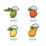 Set of  healthy food logo, emblem, label design. Royalty Free Stock Photo
