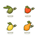 Set of  healthy food logo, emblem, label design. Royalty Free Stock Photos