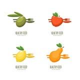 Set of  healthy food logo, emblem, label design. Stock Photography