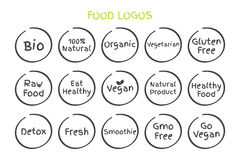 Set of Healthy Food logos. Vector Bio 100% Natural Organic Vegetarian Gluten Free Raw Food Eat Healthy Vegan Natural Product etc. Set of Healthy Food Symbols royalty free illustration
