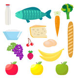 Set of healthy food products. Fish and dairy products, fruits and vegetables, cheese and eggs, sour cream, bananas. Apples, grapes and strawberries. Vector Stock Photo