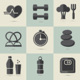Set of HEALTHY LIFE ICONS Stock Images