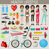 Set of healthy lifestyle elements Stock Image