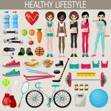 Set of healthy lifestyle elements Stock Image