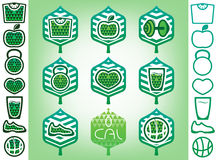 Set of healthy lifestyle icons. Stock Photography
