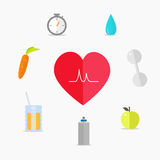 Set of Healthy lifestyle icons. Healthy lifestyle. Vector icons in a flat style Stock Photo