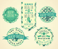 Set of Healthy Lifestyle Labels and Signs Stock Photography