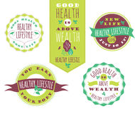 Set of Healthy Lifestyle Labels and Signs With Retro Typography. Stock Images