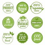 Set of healthy organic food labels and high quality product badges. Eco and natural product icons. Collection emblems for cafe, packaging etc. Vector Stock Photography