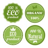 Set of healthy organic food labels and high quality product badges. Eco product and natural icons. Vector Stock Images