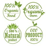 Set of healthy organic food labels and high quality product badges. Natural product and eco icons. Vector Stock Photography
