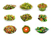 Set of Healthy Salads Royalty Free Stock Images