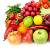 Set of healthy vegetables and fruits Royalty Free Stock Images