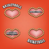 Set heart of basketball Stock Photos