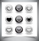 Set of heart buttons Stock Photos
