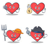 Set of heart character with doctor money bag farmer pirate Stock Images