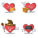 Set of heart character with envelope box witch virtual Stock Images