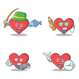 Set of heart character with fishing student gamer clock Royalty Free Stock Image