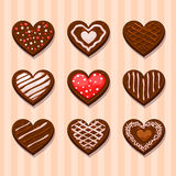 Set Heart chocolate cookies Royalty Free Stock Images