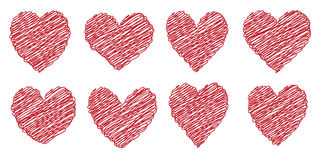 Set heart drawn painted with a brush hand Stock Image