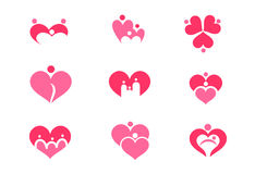 Set of heart and family, father mother and child. Vector art Stock Photo