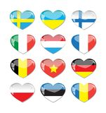 Set of heart flags icon Stock Images