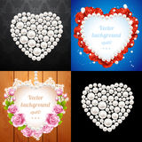 Set of heart frames made from pearls Stock Photo