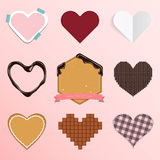 Set of heart icon in flat design for Valentine's Day or wedding ornament Stock Photos