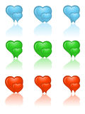Set of heart icons. The set of heart icons Royalty Free Stock Photography