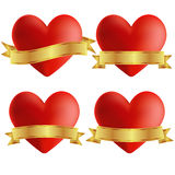 Set of heart icons with badges, vector illustratio Royalty Free Stock Photo