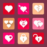 Set of heart icons flat design. Valentine's day set of heart vector icons flat design long shadows Stock Photo