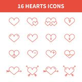 Set of heart icons,symbol,sign in flat style. Royalty Free Stock Image