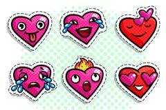 Set of heart icons. On white background. Emoji vector in pop art style. Love faces smile icon set. Emoticon icon web Stock Images