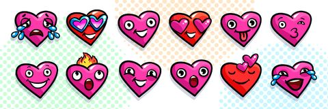 Set of heart icons. On white background. Emoji vector in pop art style. Love faces smile icon set. Emoticon icon web Royalty Free Stock Photo