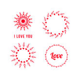 Set of heart logo, circle,  arrows. vector logo design. shape icon. Love creative concept. Love you Royalty Free Stock Photography