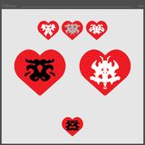 Set of heart love icons combined with a psyche test royalty free illustration