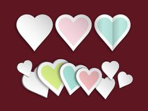 Set of heart paper stock photo