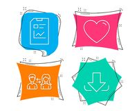Heart, People communication and Report document icons. Download sign. Set of Heart, People communication and Report document icons. Download sign. Love feelings Stock Images