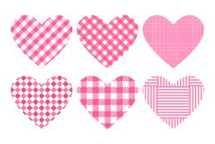 Set heart pink color trend. Substrates checkered pattern. Vector template backgrounds for Valentine`s Day banner. Set heart pink checkered pattern. Vector Royalty Free Stock Image