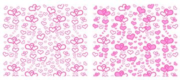 Set of Heart with pink, green, yellow on pink and black background. royalty free illustration