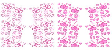Set of Heart with pink on white background. vector illustration