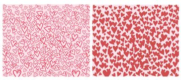 Set of Heart with red on pink and white background. vector illustration