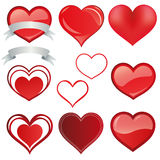 Set Heart red  - vector Stock Images