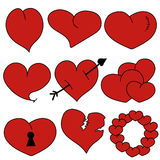Set Heart Red - vector Stock Image