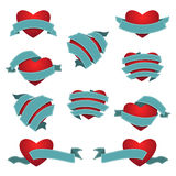 Set of Heart and Ribbon. Vector illustration Royalty Free Stock Photos