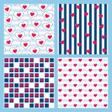 Set of heart seamless pattern. Romantic vector. Set of heart seamless pattern. Romantic backgrounds for Valentine`s Day. Vector eps10 stock illustration