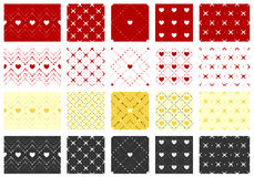 Set of heart seamless patterns royalty free stock photos