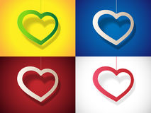 Set heart with shadow Royalty Free Stock Images