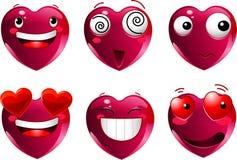 Set of heart shape emoticons vector illustration